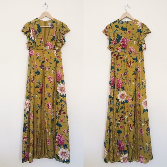 ASOS Petite Dresses & Skirts - ASOS Lace Godets Maxi Dress Mustard Floral Print